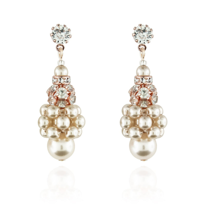 Pearl Cluster Earrings with Rhinestone Beads - cream, rose gold