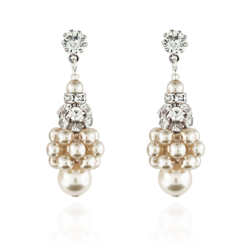Pearl Cluster Earrings with Rhinestone Beads - cream, silver