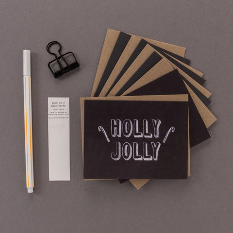 'Holly Jolly' Mini Chalkboard Christmas Cards Pack of 5