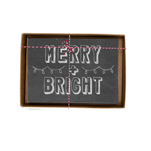 Merry and Bright Chralkboard Christmas Card Box