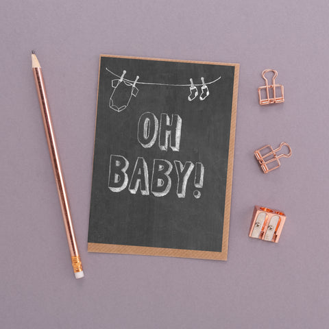 Oh Baby Chalkboard Card