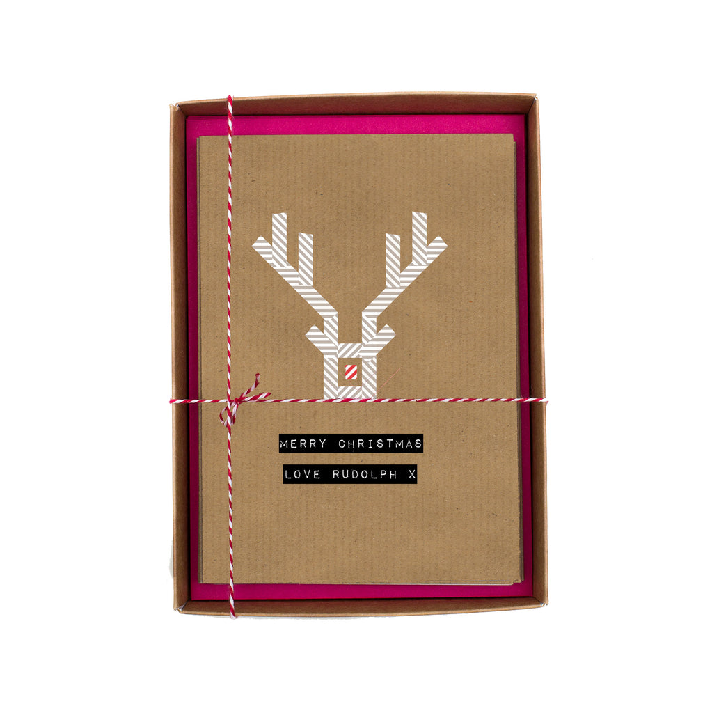 Merry Christmas Love Rudolph Washi Tape Christmas Card Box