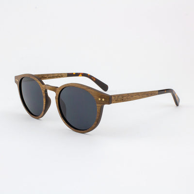 Marion black walnut adjustable wood sunglasses with tortoise shell acetate tips