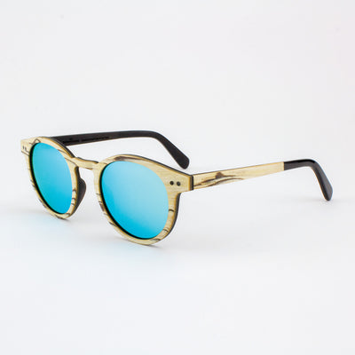 Marion white zebrawood adjustable wood sunglasses with piano black acetate temples