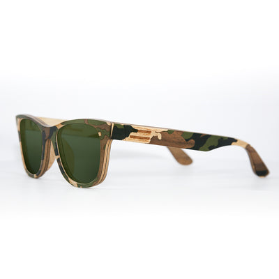Green-multi camouflage wood sunglasses