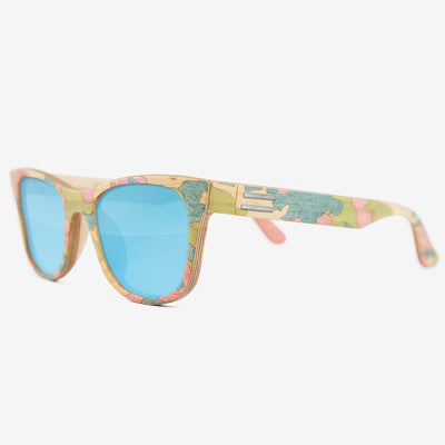 Pink and light blue camouflage wood sunglasses
