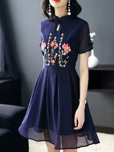 Vintage Embroidery Stand Collar Short Sleeve Skater Dress