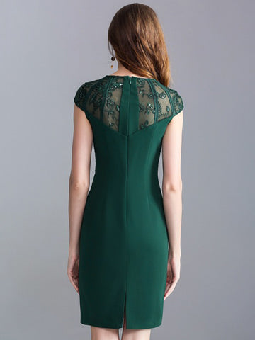 Elegant Lace Stitching O-Neck Sleeveless Beaded Bodycon Dress