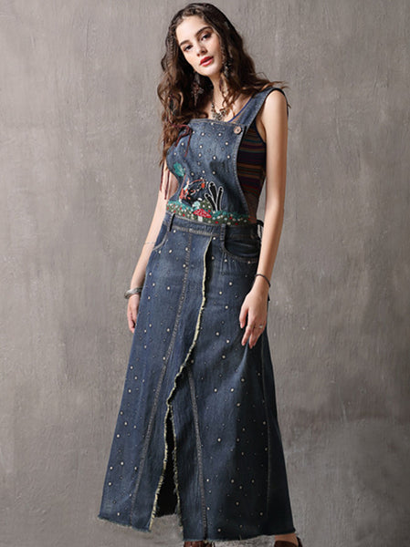 Embroidery Braces Slit Pocket Maxi Dress