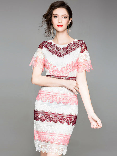 Embroidery Hit Color O-Neck Short Sleeve Bodycon Dress