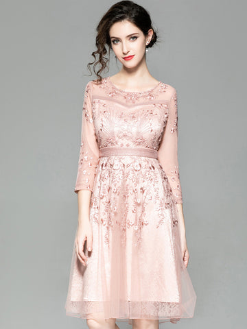 Embroidery O-Neck 3/4 Sleeve Mesh A-Line Dress