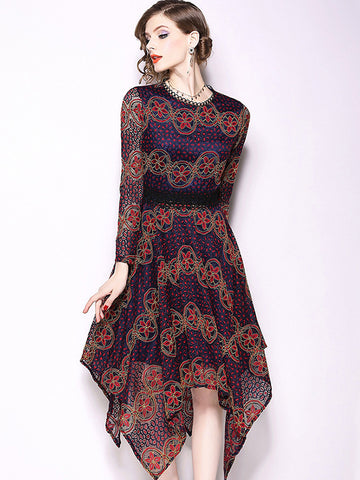 Lace Irregular O-Neck Long Sleeve A-Line Dress
