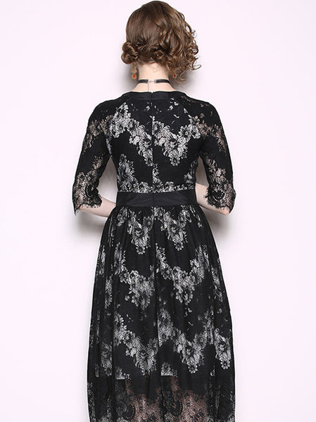 Black Lace O-Neck Half Sleeve A-Line Dress