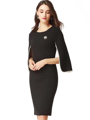 Elegant O-Neck Pure Color Bodycon Dress