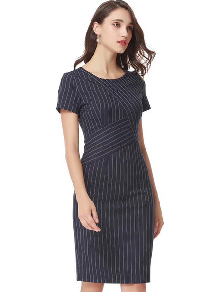 Stripe O-Neck Short Sleeve Bodycon Dress
