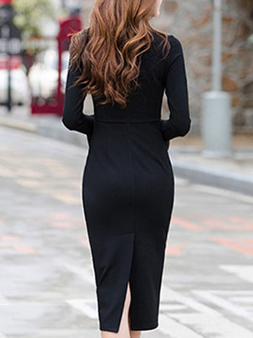 Party Flare Sleeve Slit Sheath Dress