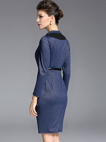 Elegant O-Neck Long Sleeve Mesh Stitching Bodycon Dress