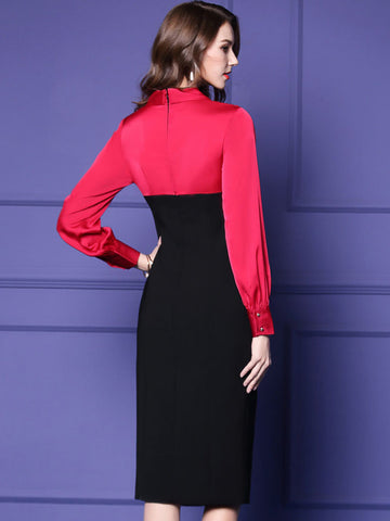 Elegant V-Neck Long Sleeve Hit Color Bodycon Dress