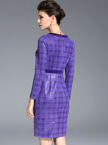 British O-Neck Long Sleeve Plaid Bodycon Dress