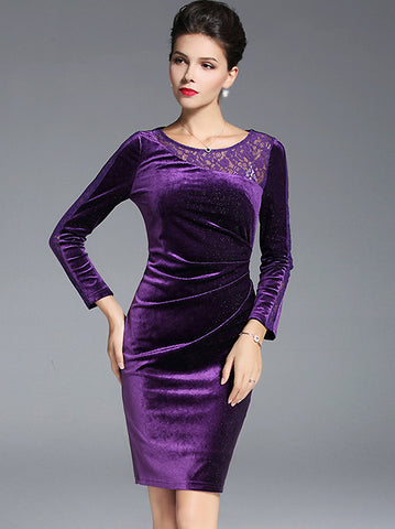 Lace Stitching O-Neck Long Sleeve Pure Color Bodycon Dress