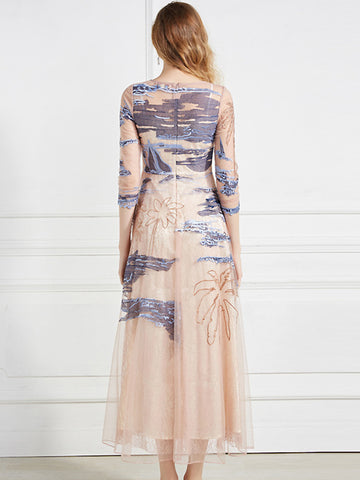 Elegant Embroidery Beaded Lace See-Through 3/4 Sleeve Mesh Stitching Maxi Dress