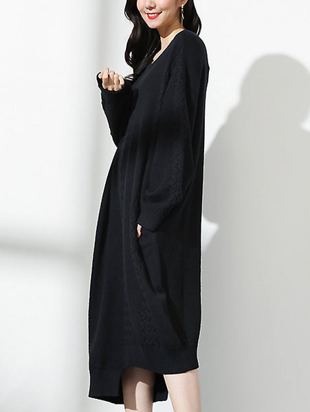 Fashion O-Neck Long Sleeve Irregular Hem Sweater Dress