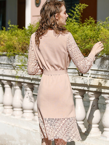 Casual Elegant Lace Stitching Bowknot Lacing O-Neck Fit & Flare Dress