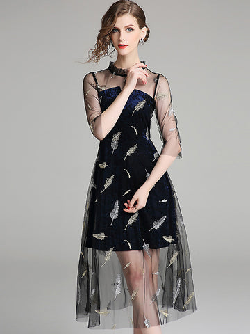 Chic Embroidery Mesh Stitching Stand Collar Half Sleeve Slim Midi Dress