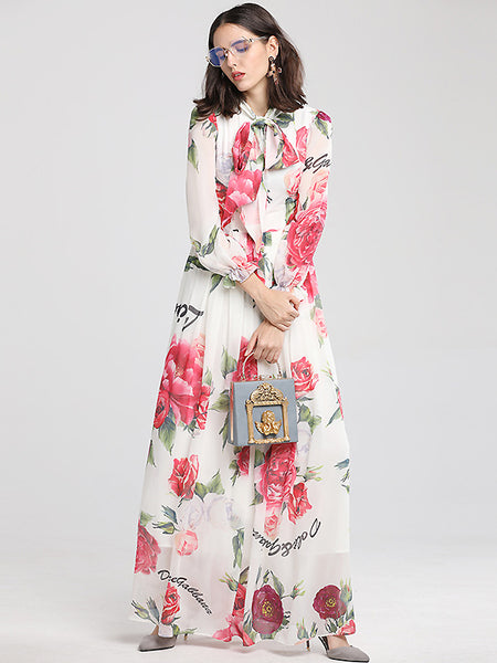 Vintage Floral Print Long Sleeve Lacing O-Neck Big Hem Maxi Dress