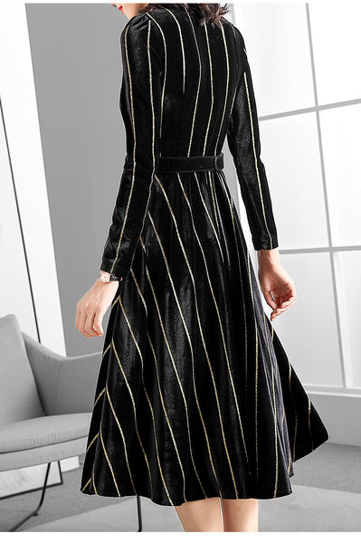 Fashion Stripe Velour Stand Collar Long Sleeve Bodycon A-Line Dress