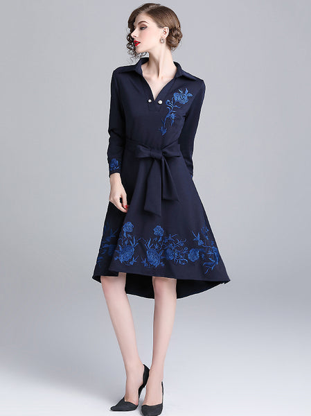 Stylish Embroidery V-Neck Long Sleeve Lacing Skater Dress