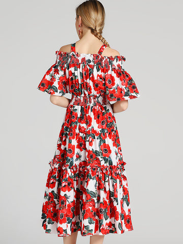 Chic Floral Print Braces Boat Neck A-Line Midi Dress
