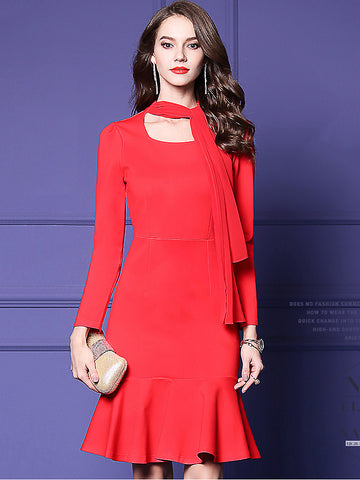 Casual Pure Color Falbala Hem Long Sleeve A-Line Dress