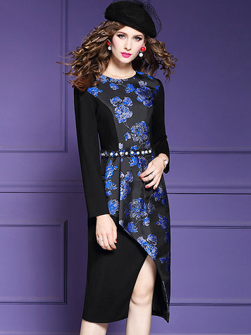 Fashion Stitching O-Neck Long Sleeve Beaded Split Dress