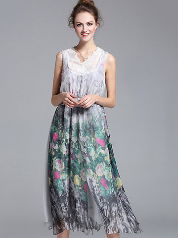 Bohemian Lace Stitching Print V-Neck Sleeveless Midi Dress