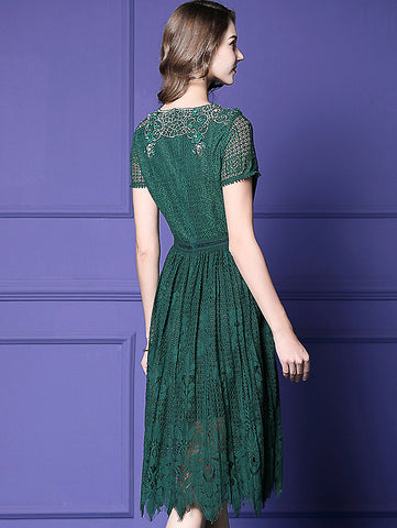 Floral Beaded Lace Solid Slim A-Line Midi Dress