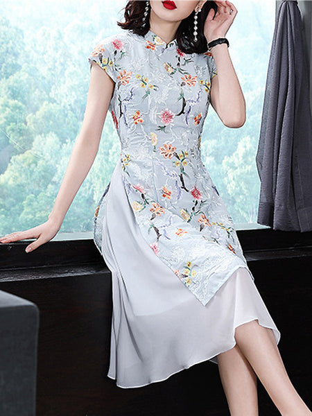 Embroidery Stand Collar Sleeveless Fit & Flare Dress