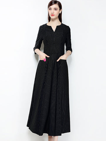 Fashion Stripe V-Neck 3/4 Sleeve Big Hem Dress