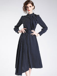 Polka Dots Stand Collar Long Sleeve Irregular Midi Dress