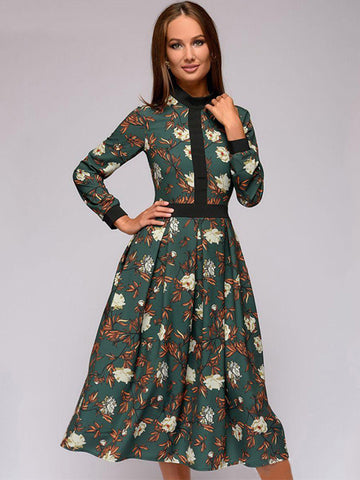 Casual Green Print Stitching Stand Collar Long Sleeve A-line Dress