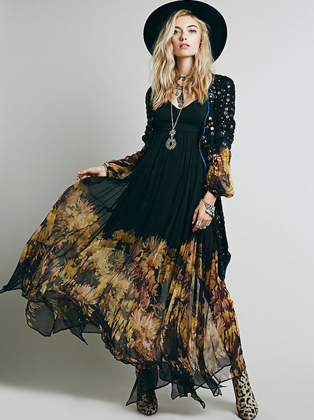Bohemia Pleated Print Backless Big Hem Dress(Due to the light and display,the product may be a slight color difference,please in kind prevail.)
