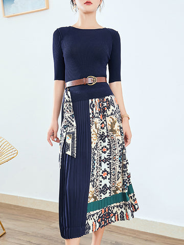 Chic Belt Stitching Slim Gathered Waist Pleated Dress