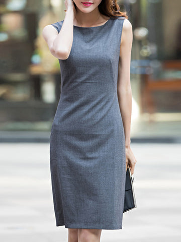 Simple Grey Sleeveless O-Neck Bodycon Dress