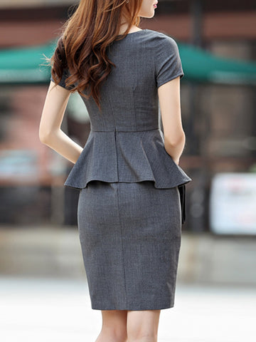 Falbala Layerd-Look Slit Grey Work Bodycon Dress