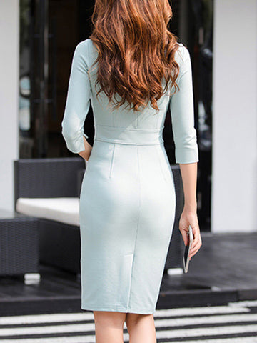Slim Solid Color 3/4 Sleeve Work Knit Bodycon Dress