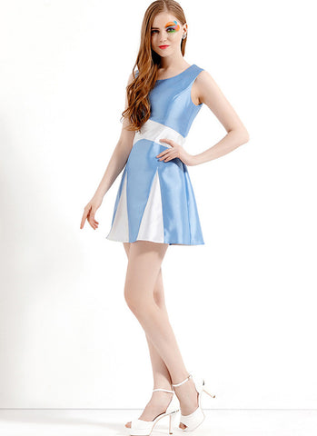 Light Blue and White Satin Mini Aline Dress RD565