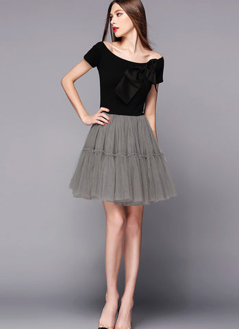 Off-Shoulder Black and Gray Tulle Mini Dress RD510