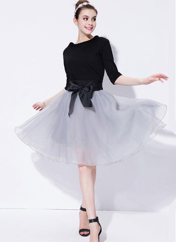 Black and Light Gray Fit and Flare Mini Dress with Oversized Satin Bow Belt RD554