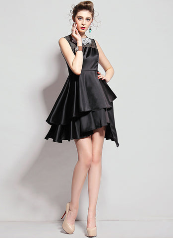 Black Satin Asymmetric Mini Dress with Mesh Details RD585