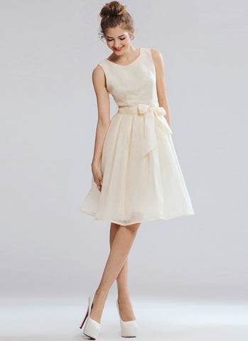 Light Champagne Mini Dress with Bow Sash RD524